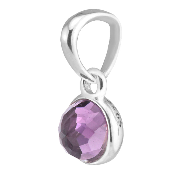 d2ee3fa3c Fits Pandora Bracelets 100% 925 Sterling Silver Charms DIY Jewelry February  Drople Silver Beads with Purple CZ