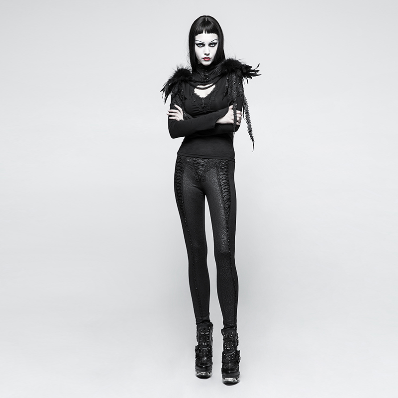 Pants leggings black with patterns baroque and lacing elegant ari Punk Rock Club Fashion Visual Kei K291 - 4