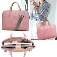 Fashion Pu Waterproof Scratch resistant Laptop Briefcase 13 14 15 inch Notebook Shoulder Bag Carry Case For women and men