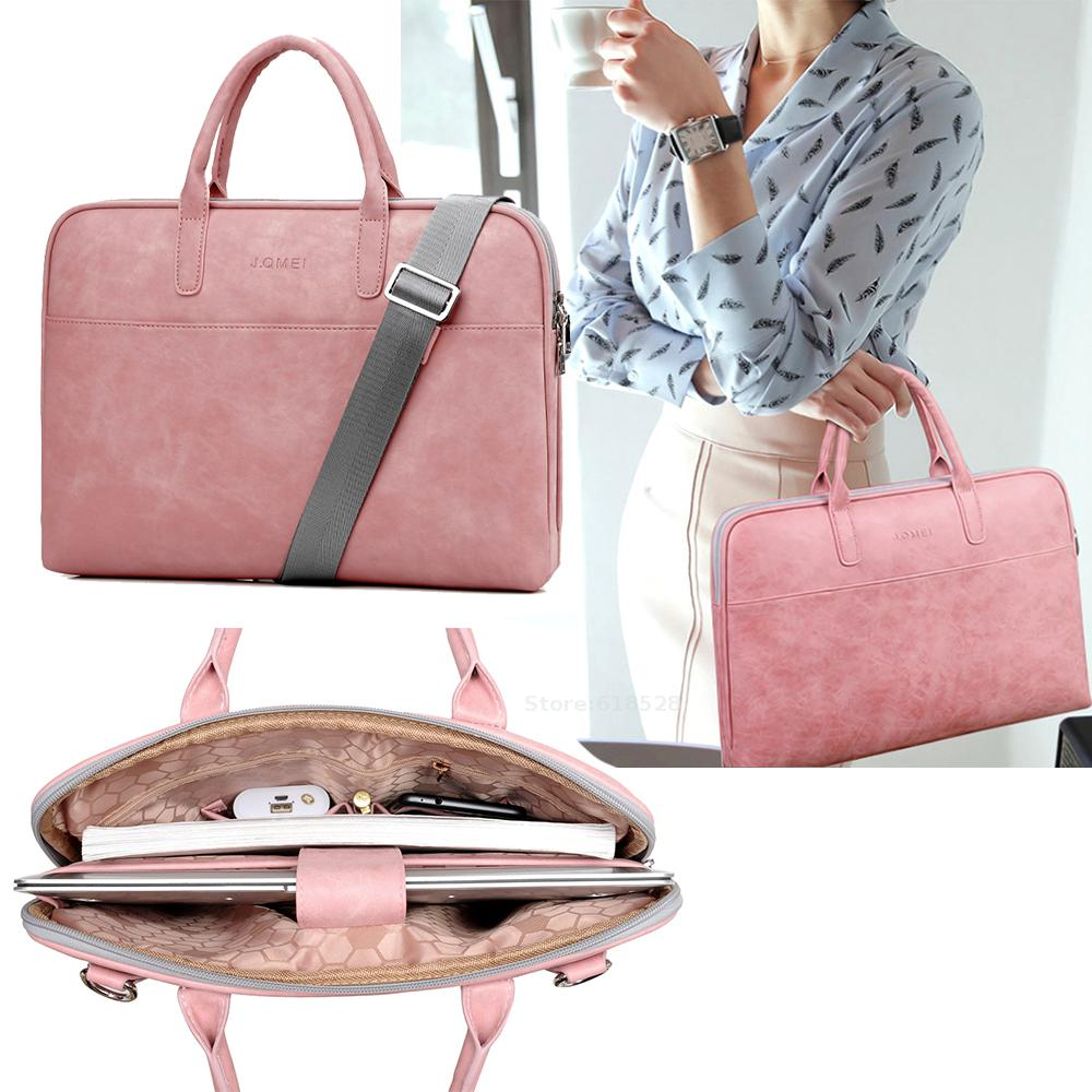 Fashion Pu Waterproof Scratch-resistant Laptop Briefcase 13 14 15 inch Notebook Shoulder Bag Carry Case For women and men