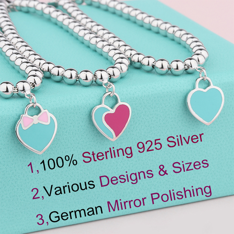 SW Genuine Sterling 925 silver heart charm bracelet pink bow blue heart tag beaded bracelets love gifts for women girls birthday pd2 ztung custom made pd2 bracelet sterling silver for women and men have heart for love