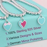SW Genuine Sterling 925 silver heart charm bracelet pink bow blue heart tag beaded bracelets love gifts for women girls birthday