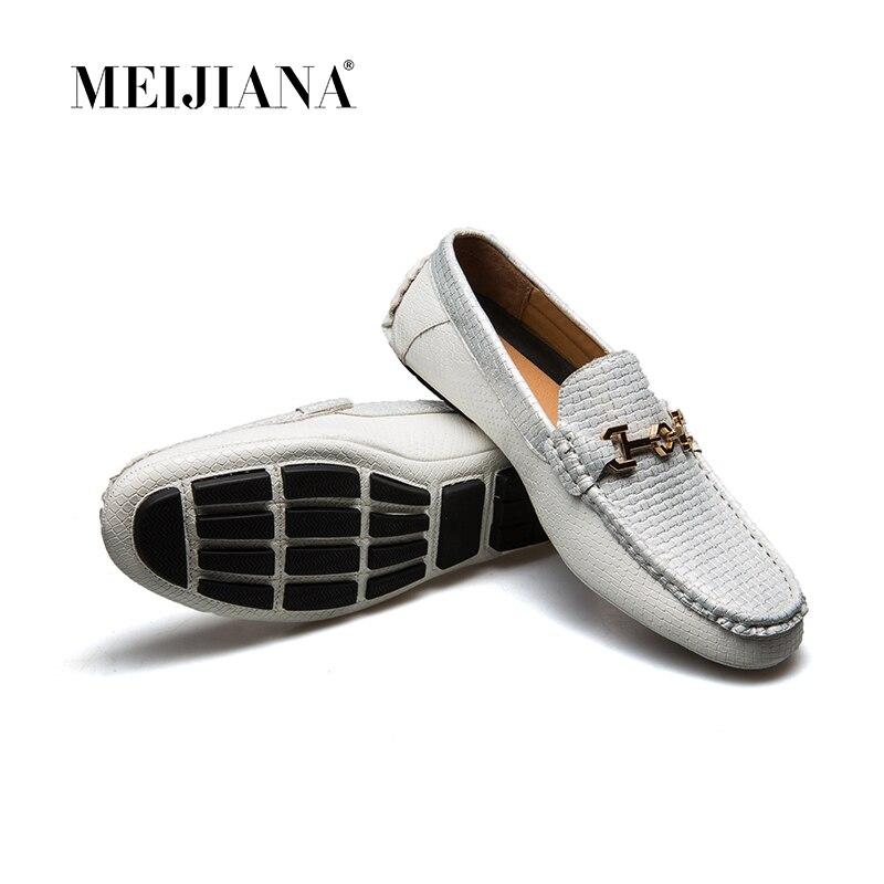 Barco Novos Sapatos branco 2018 De Luxo Mocassins Verão Meijiana Preto Da Genuíno Homens Couro Marca Casuais T7P4xWqg5