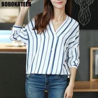 BOBOKATEER Cotton Blouse Top Women Blouses V Neck Shirt Women Tops Blusas Camisas Femininas Manga Longa