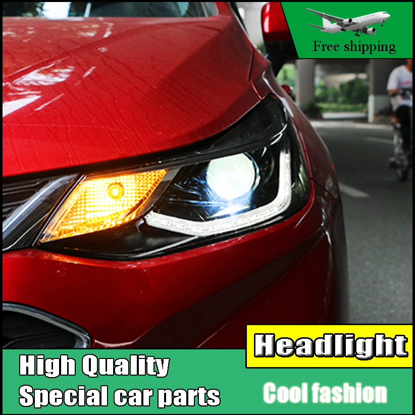 Car styling Headlamp For CHEVROLET CRUZE headlights 2017 LED head lamp C Angel eyes DRL front light Bi-Xenon Lens xenon HID for chevrolet cruze tuning bi xenon projector lens head lights with led turn light 2015 year new arrival