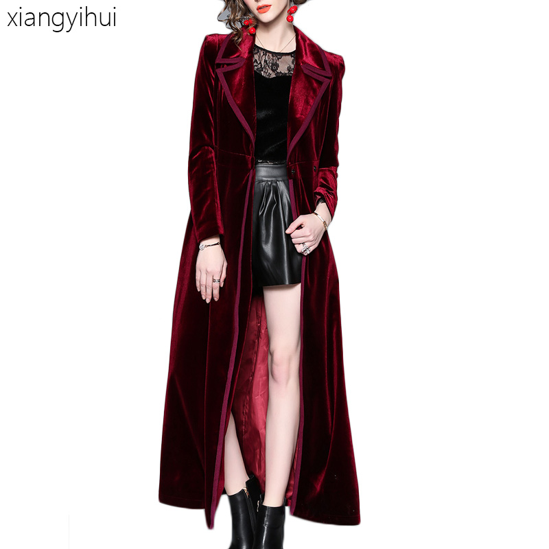Gothic Cosplay Outwear Women Vintage Fashion Turn-down Collar Long Sleeve Velvet   Trenches   Female High Waist Long   Trench   Coat