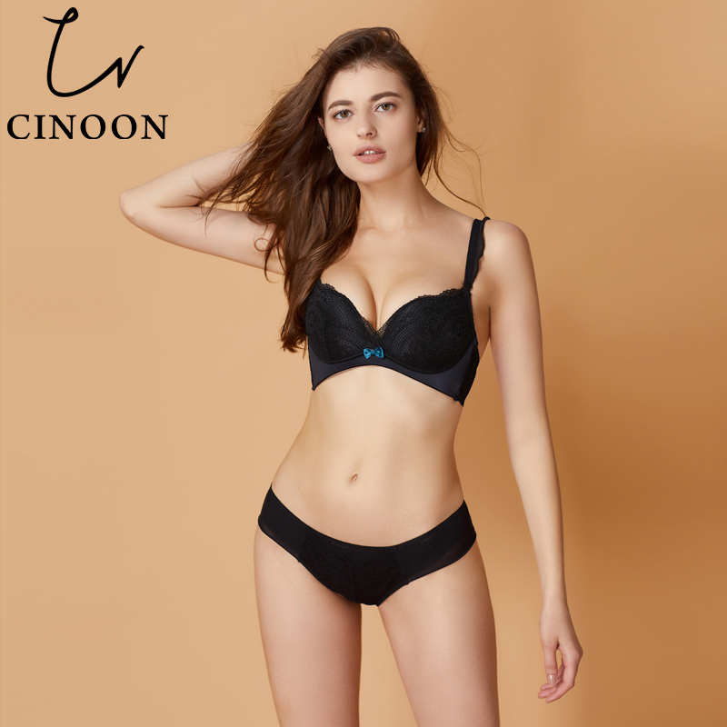 CINOON 2018 New Deep V Women sexy push up bra set floral lace Underwear set Sexy Lingerie dropshipping intimates bralette
