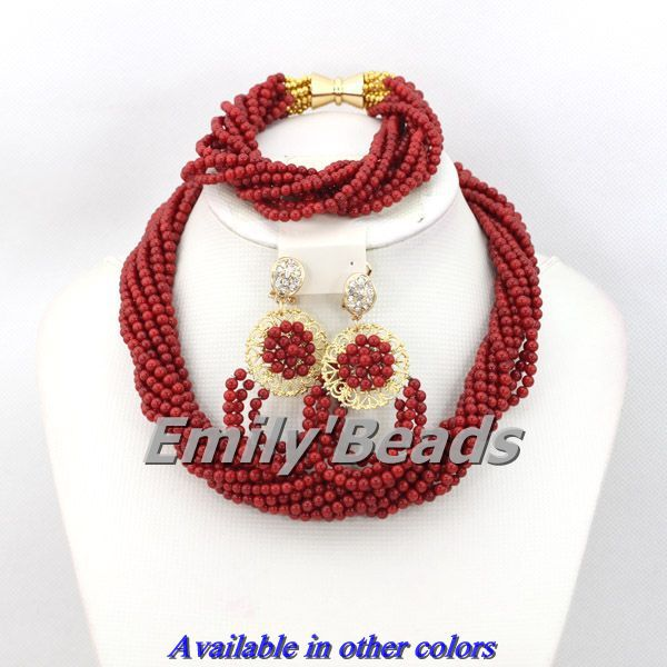 Nigerian Wedding African Red Coral Beads Jewelry Set Costume African Indian Beads Necklace Jewelry Set Free Shipping CJ239 costume african red coral beads necklace bracelet earrings jewelry set nigerian wedding jewelry sets free shipping cj240