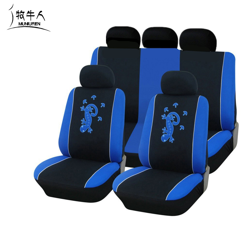 MUNIUREN 11pcs set Cartoon Car Seat covers Gecko Embroidery Universal Seat Cover Set Polyester Fabric Fit