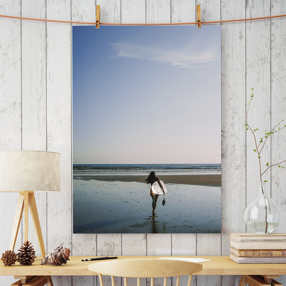 Wall Art Print Canvas Painting Sexy Surfing Girl Beach Sea View Nordic Posters And Prints Wall Pictures For Living Room Decor in Painting Calligraphy from Home Garden