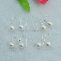 Hot Sale White Simple Style High Quality 9 10mm AAA Freshwater 925 Silver Drop Pearl Earrings