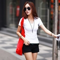 New Summer Style V Neck Solid Women Tops Colorful Short Sleeve Female T-Shirts  Loose Cotton  Shirt Feminino nz17