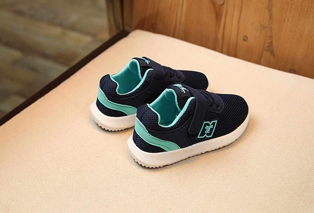 ילדי ספורט נעלי סתיו האביב חדש אופנה לנשימה ילדים בני אוויר רשת נעלי בנות אנטי חלקלק סניקרס תינוק נעל
