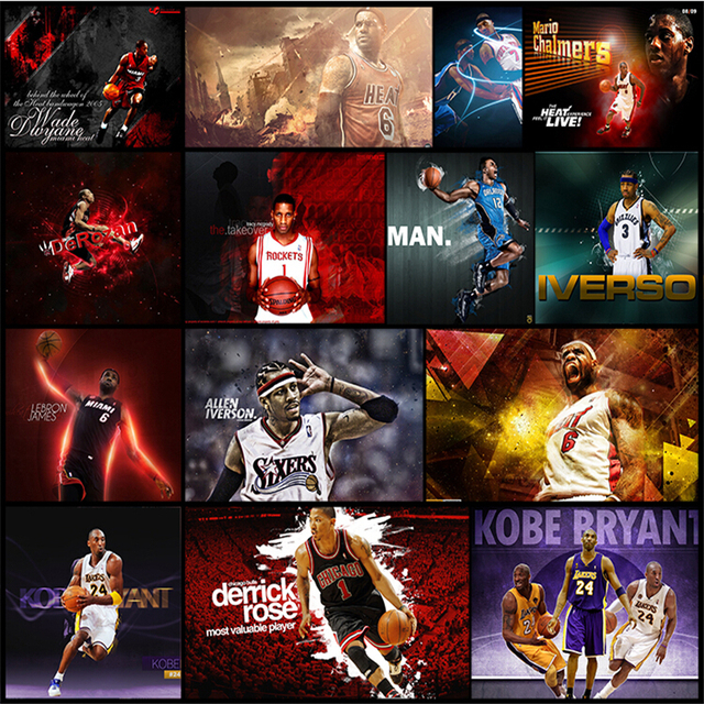 NBA Modern Basketball Superstar Poster Wallpaper Gym Sports Field Background Wall Large Leisure Bar Theme Murals