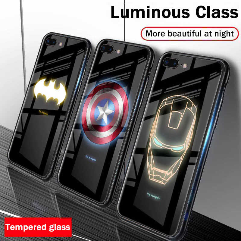Marvel Avengers Luminous Tempered Glass Phone Cases for iPhone 6 6s 7 8 Plus XS Max XR 10 8Plus 7Plus Batman Comic Ironman Cover
