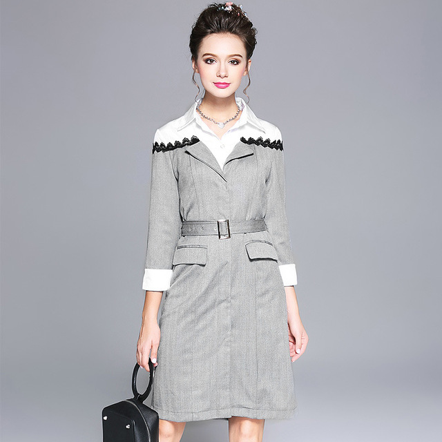 04f00ff5190 Office Wear To Work Dress Plus Size Women Clothing Spliced 2 in 1 Three  Quarter Sleeve Belted Shift Dresses Grey Autumn L to 5xl