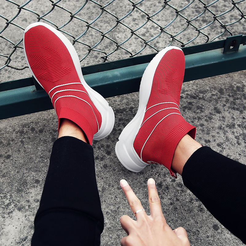 2018 summer new style mens shoes tide shoes Korean version of the wild sports shoes male flying woven breathable personality so