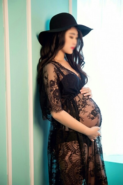 Women Black White Maternity Photography Props Sexy Lace -9028