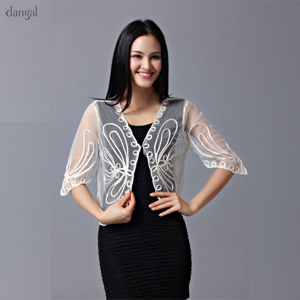 Dangal Lace Jacket Mesh Bolero Jacket SeeThrough Black White Beige Summer Jacket Women Embroidery Lace Top See Through Clothing