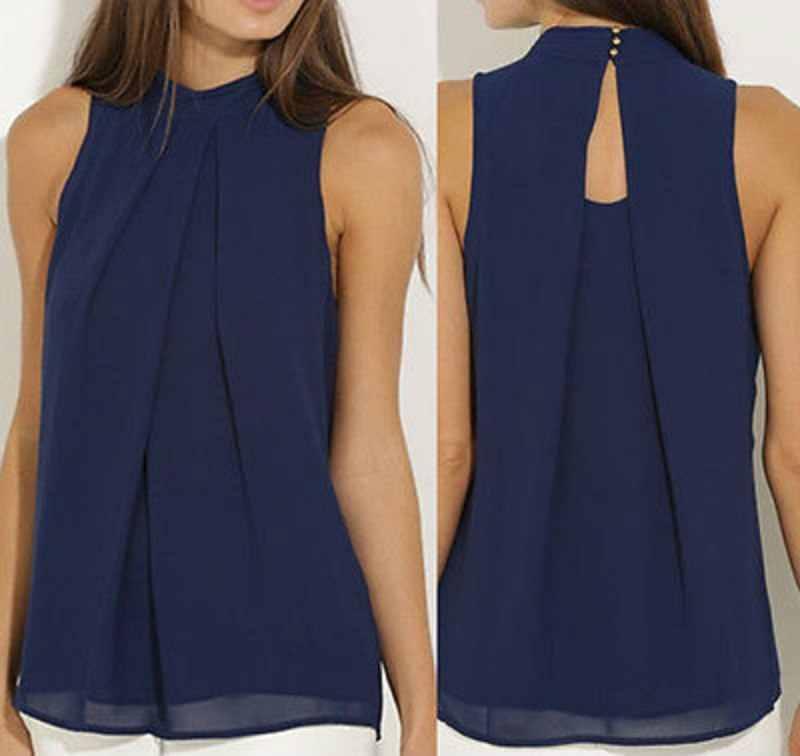 אופנה נשים שיפון חולצות קיץ חולצת שרוולים חולצת מקרית חולצות שחור