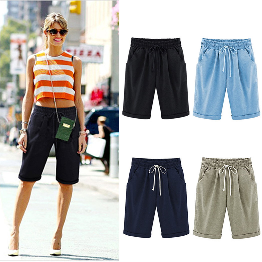 2ef9d61411 Detail Feedback Questions about Hot Summer Women Short Pants Casual  Drawstring Loose Half Harem Pants Fashion Ladies Straight Solid Trousers  Joggers Plus ...