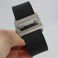 25mm Wathcbands 25mm Correa de La Venda Pulseras de reloj de Los Hombres de Goma Negro accesorios