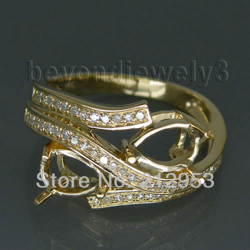 Vintage Pear 5x7mm Solid 14kt Yellow Gold Semi mount Ring Diamond Fine Jewelry WU021 ...