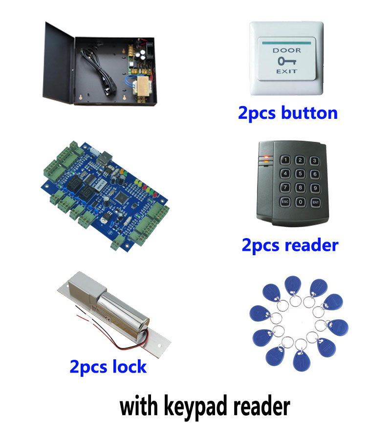 RFID access SYSTEM,TCP two door access control+powercase+electric bolt lock+ID reader+exit button+10 ID tags,sn:kit-B202 rfid door access control system kit set with electric lock power supply doorbell door exit button 10 keys id card reader keypad