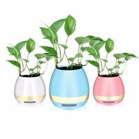 Smart LED Music Flower Pots Bluetooth Speaker Play The Piano Decoration Planter Night Light Touch Mode