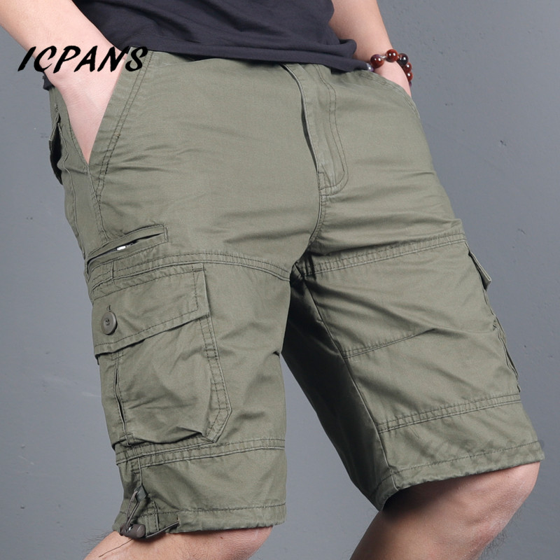 ICPANS Casual Shorts Men Clothing Zipper Cargo Short Pants Male Military Work Summer Mens Shorts Trousers Plus Size XXXL 4XL 5XL