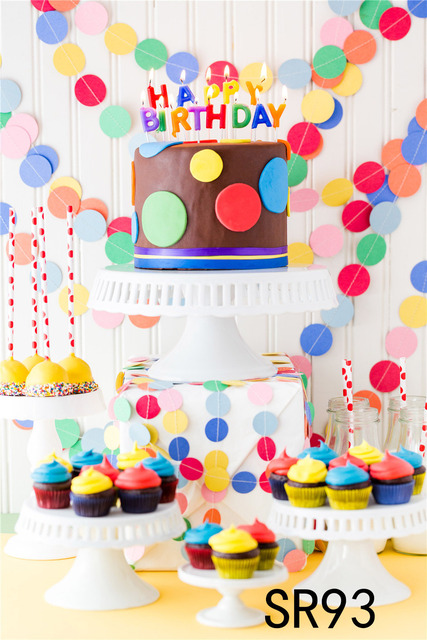 Happy Birthday Cake Carnival Photography Backdrops Party Colorful Wall Decoration Background Props For Photo Studio