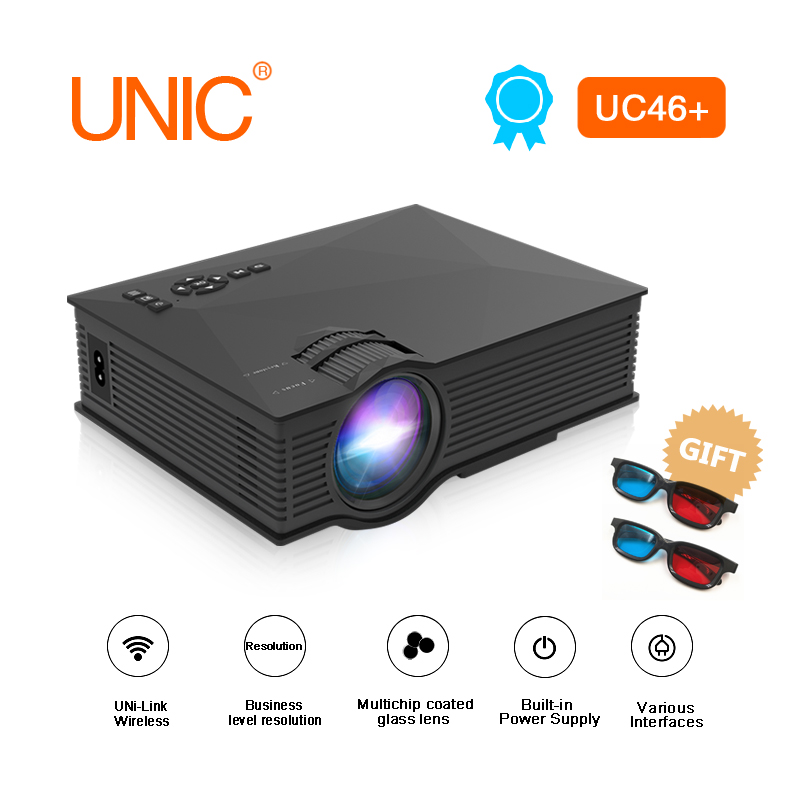 US $72 86 12% OFF|UNIC UC46 Plus LED Projector Full HD 800x480 LED Video  Projector Home Cinema 1200 Lumens WIFI Support Miracast/Airplay  Proyector-in