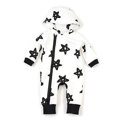Casual Cute Spring Newborn Infant Baby Boy Stars Print Jumpsuit Romper Warm Cotton Outfit Kids Clothes