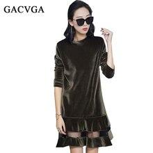 GACVGA Herbst Winter Kleider Abend Partei O Ansatz Samt Kleid Für Frauen Vintage Sexy Maxi Kleider Vestidos