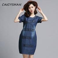 Nieuwe zomer modemerk vrouwen jurken plus size katoen blauw jeans dress voor vrouwen kleding een stuk denim m-5xl gratis verzending