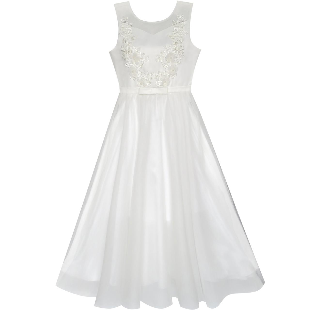 Flower Girls Dress Off White Wedding Veil First Communion ...