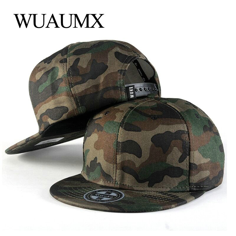 Wuaumx Summer   Baseball     Caps   Men Camouflage Hip Hop 5 Panel Snapback Hat For Women Touca Gorras Planas Casquette Chapeau 18styles