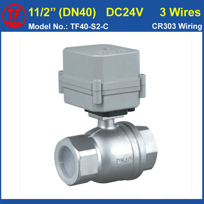 SS304 11/2'' 10NM Actuated Ball Valve DC24V 3 Wires 2 Way Electric Water Valve, DN40 Motorized Bball Valve With Indicator 1 2 dc24vbrass 3 way t port motorized valve electric ball valve 3 wires cr301 dn15 electric valve for solar heating