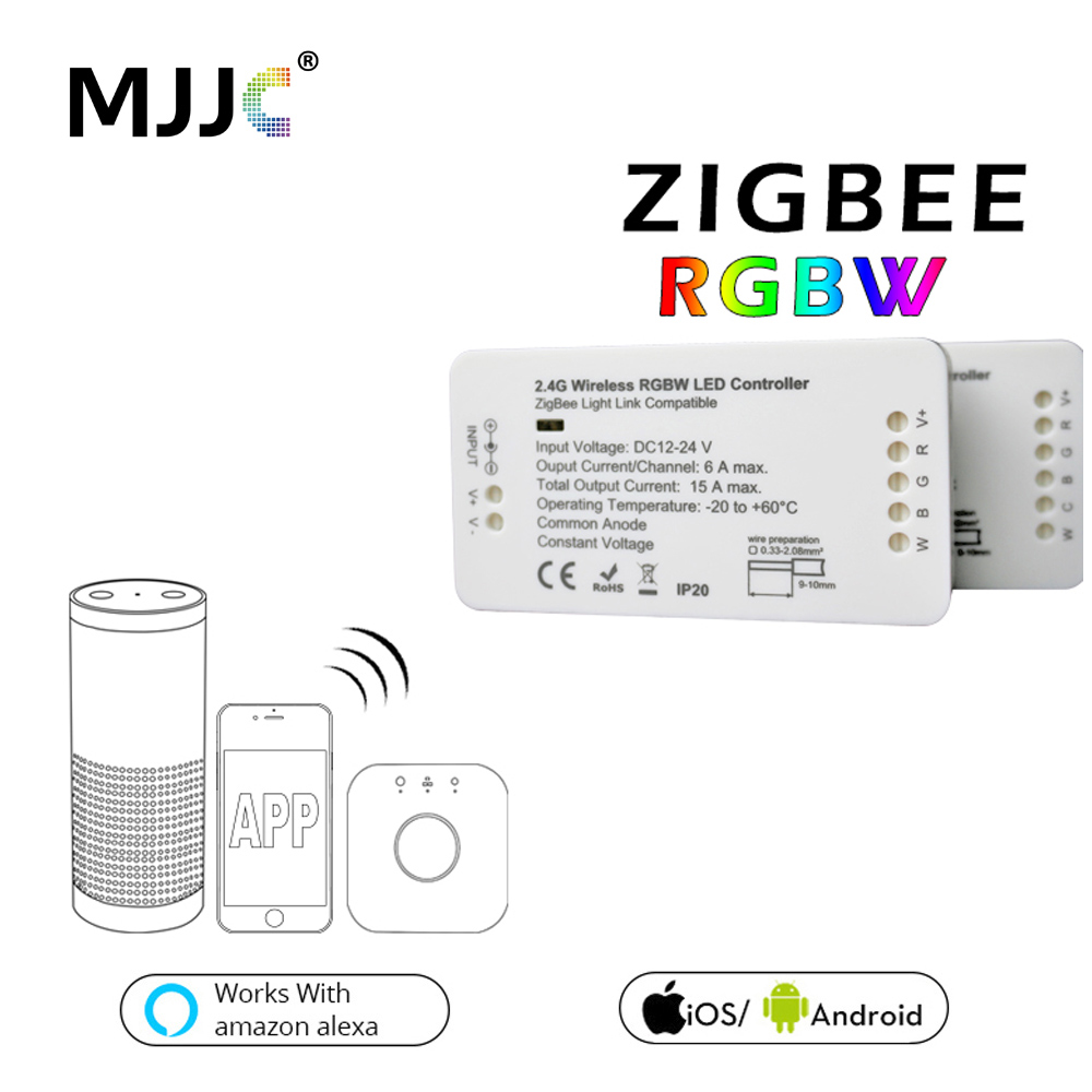 Zigbee Controller DC 12V 24V Bridge LED RGBW Controller For LED Strip Light Compatible Smart Home APP Control Zigbee RGB Dimmer zigbee zll link smart strip light rgb rgbw controller dc12v 24v zigbee rgb app control compatible with led echo gledopto led rgb
