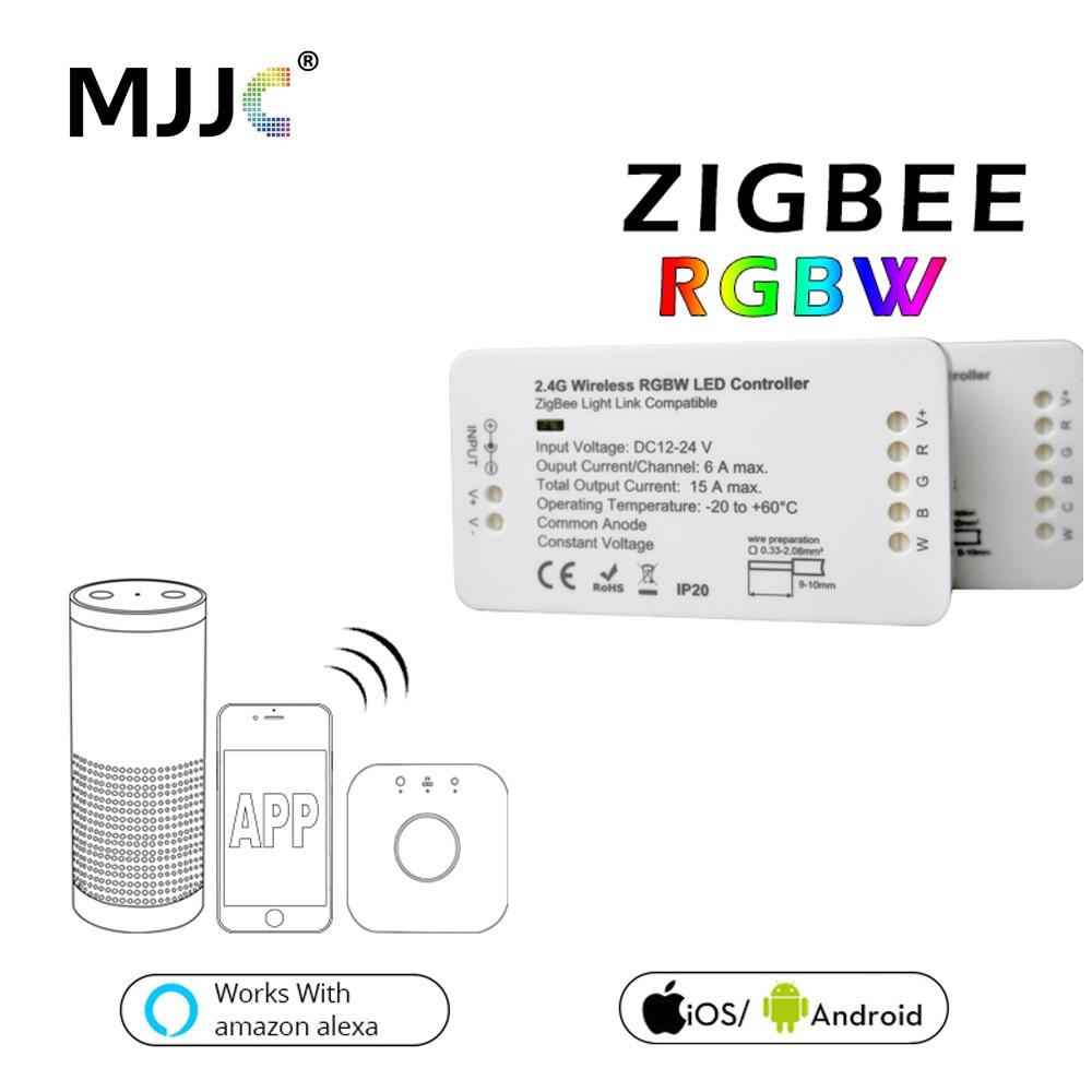 Zigbee Regolatore DC 12 v 24 v Ponte LED RGBW Controller Per La Luce di Striscia del LED Compatibile Smart Home, Casa Intelligente APP di Controllo Zigbee RGB Dimmer