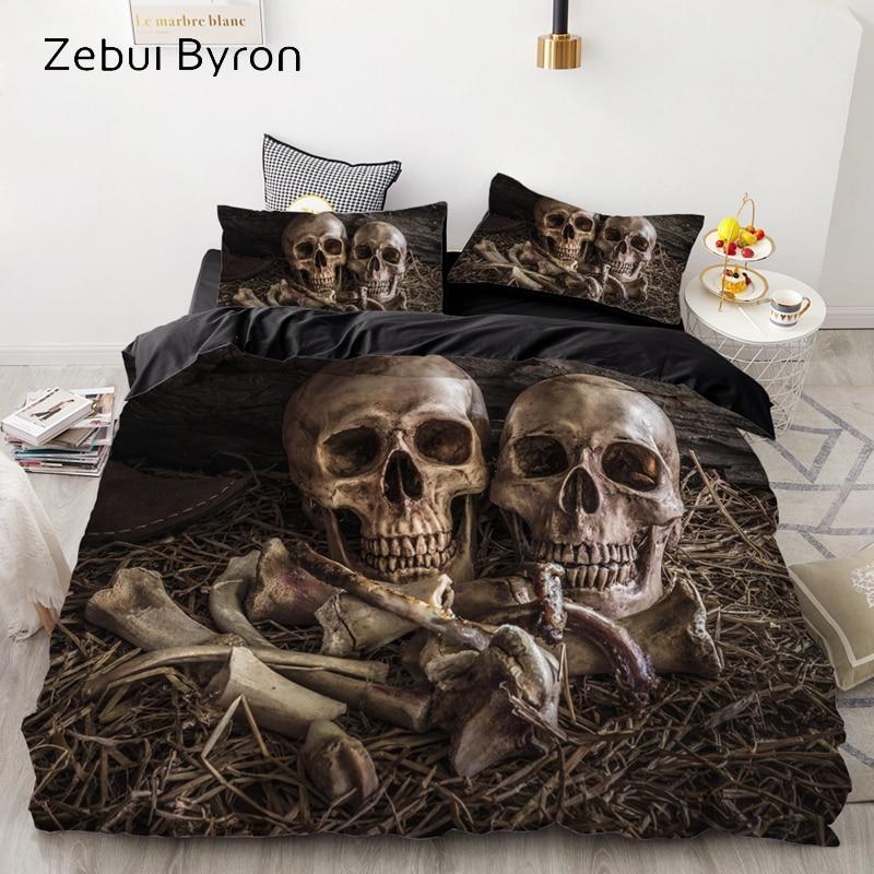 Luxury Bedding Sets 3D Custom,Duvet Cover Set Queen/King,Quilt/Blanket Cover Set,3 PCS Bed Se,halloween Skull  Bed Linen