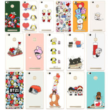 49D Cartoon Stars KPOP BTS Signature Hard Transparent Cover Case for Xiaomi Redmi 3S 3Pro 4a 5 plus Note 4 4x 5a 4pro Mi5 mi a1(China)