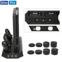 PS4 Slim/Pro тонкий зарядный теплоотвод вертикальная подставка охлаждающий вентилятор двойной контроллер Зарядное устройство Док-станция для ...