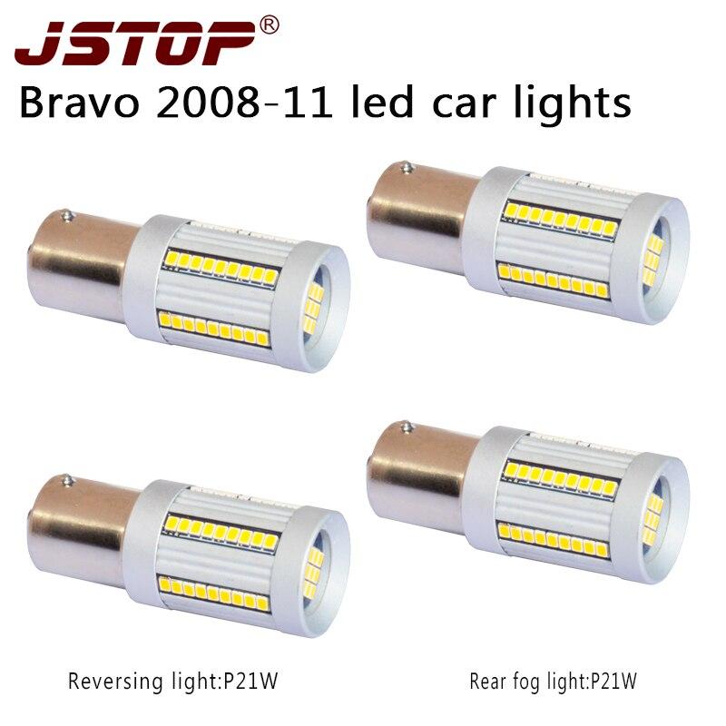 JSTOP 4pcs/set Bravo 2008-11 car lamps 1500LM Rear fog bulbs 1156 P21W Ba15s led canbus 6000k No error 12-24V led Reverse Lights