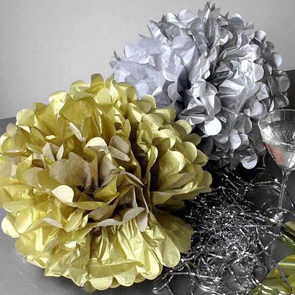 1Pc Gold Silver Pompom Tissue Paper Pom Poms Flower Balls For Wedding Room Decoration Party Supplies Diy Craft Paper Flower