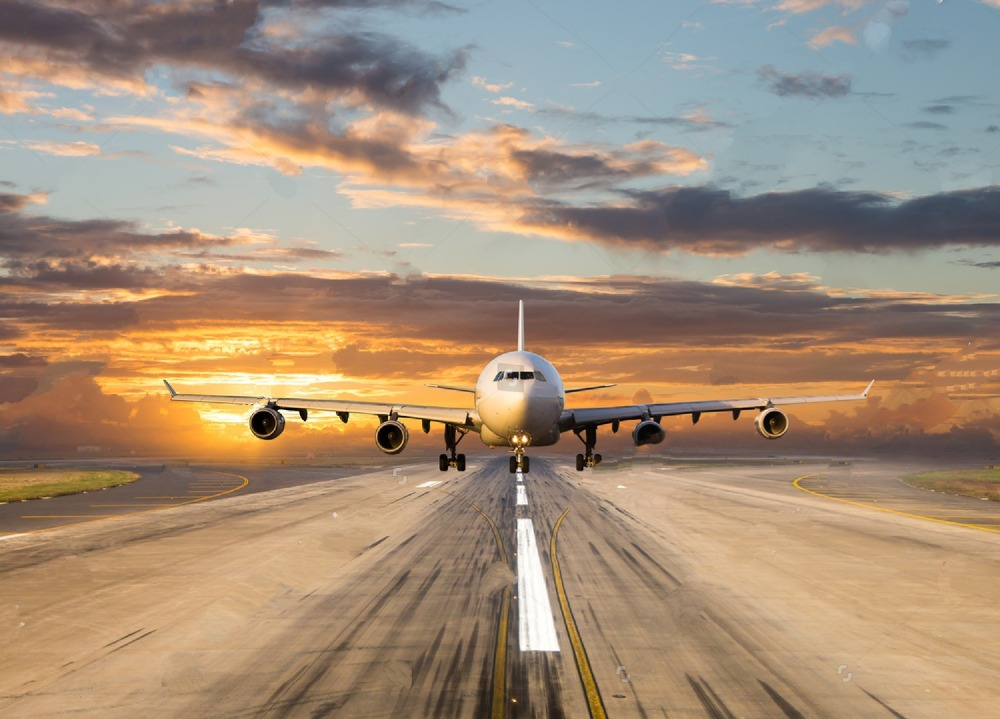 Airport Runway Sunset Photo Backdrop Polyester Or Vinyl