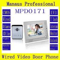 Smarthome System Intercom 1V1 Przewodowy Jeden do Jednego Wideo Dzwonek 7 Cal Domofonu Wideo Ekranu Wyświetlacza 6 IR Światła Hurtownie D171b