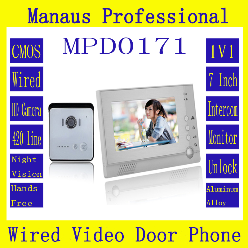 Smarthome 1V1 Wired Intercom System One to One Video Doorbell 7 Inch Display Screen 6 IR Lights Video Doorphone Wholesale D171b 7 inch video doorbell tft lcd hd screen wired video doorphone for villa one monitor with one metal outdoor unit night vision