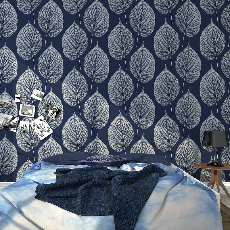 Nordic Style 3D Leaf Wallpaper Roll Modern Simple PVC Vinyl Wall Paper Bedroom Living Room TV Sofa Background Wall 3D Home Decor mediterranean style sky blue wallpaper modern pure color wall paper roll for bed room livingroom