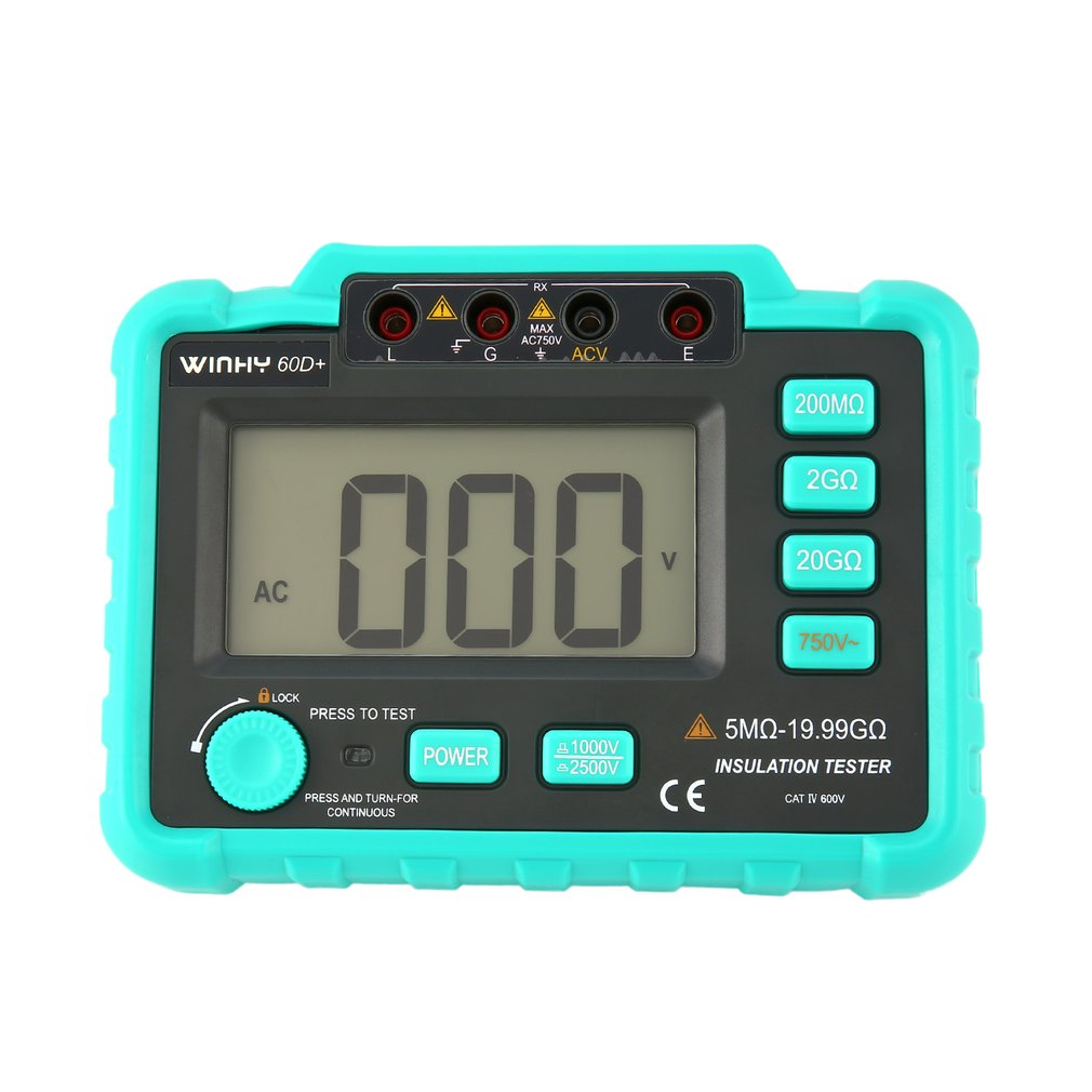 WINHY 60D+ Digital Insulation Resistance Tester Earth Ground Meters Megger Megohmmeter Portable Volt Voltmeter MultimeterWINHY 60D+ Digital Insulation Resistance Tester Earth Ground Meters Megger Megohmmeter Portable Volt Voltmeter Multimeter